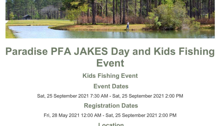 Paradise PFA Jakes Day & Fishing Event Sept 25